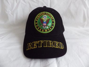 UNITED STATES ARMY RETIRED EMBROIDERED BASEBALL CAP